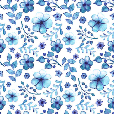 Seamless Pattern With Watercolor Light Blue Leaves And Flowers