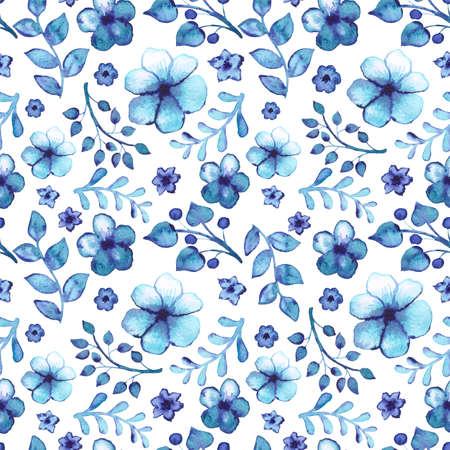 Nahtloses Muster mit Aquarell-hellblauen Blättern und Blumen