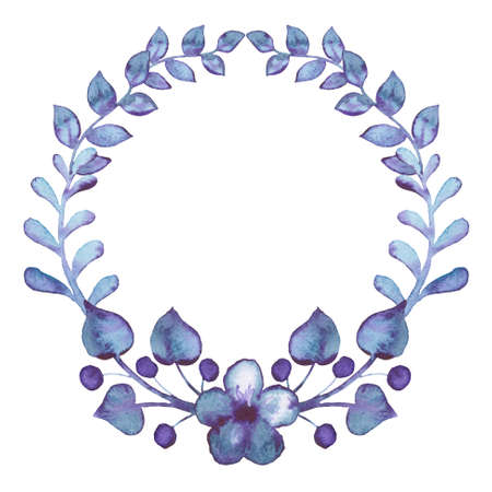 violet flowers: Wreath With Watercolor Little Berries, Violet Flowers And Leaves