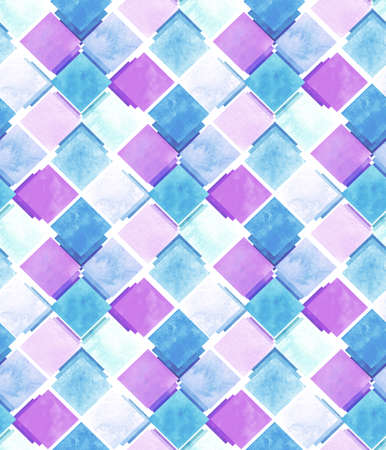 repeat pattern: Watercolor Light Blue And Pink Squares Repeat Pattern Stock Photo