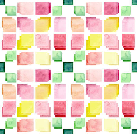 fresh colors: Seamless Mosaic Pattern with Watercolor Squares in Fresh Colors