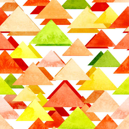 red yellow: Seamless Texture With Watercolor Bright Red, Yellow and Green Triangles