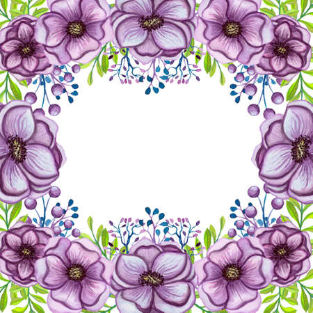 Card With Watercolor Lilac Flowers, Berries and Bright Green Leaves Stock Photo
