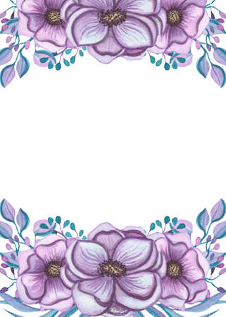 violet flowers: Frame With Watercolor Light Violet Flowers, Blue Berries And Leaves Stock Photo