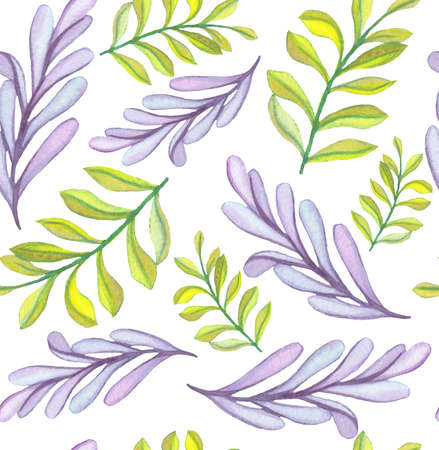 Seamless Pattern of Watercolor Light Violet And Green Leaves Stock Photo