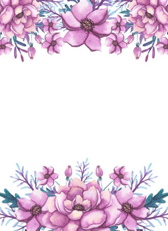 Frame With Watercolor Pink Flowers and Deep Green Leaves