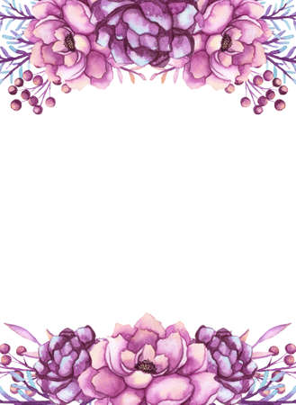 Frame With Watercolor Deep Violet Peonies and Pink Berries