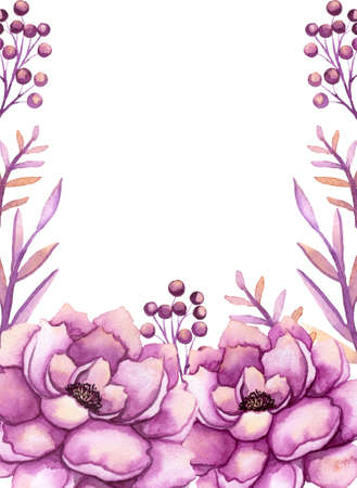 Frame With Watercolor Light Pink Peonies and Berries Stock Photo