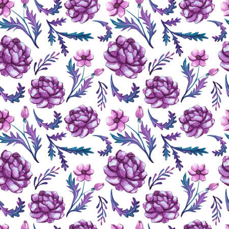 Seamless Pattern of Watercolor Deep Violet Peonies and Leaves Stock Photo