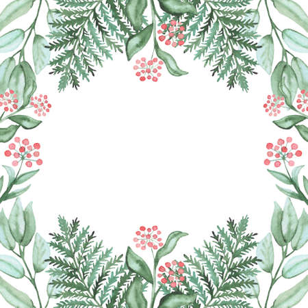 light green: Frame With Watercolor Green Fern And Red Berries Stock Photo