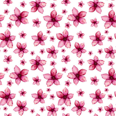 Seamless Pattern of Watercolor Little Deep Red Flowers
