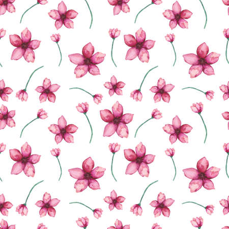 Seamless Pattern of Watercolor Red Flowers and Buds Stock Photo