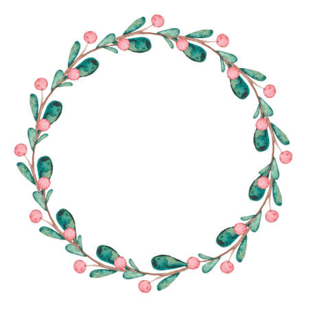 Wreath With Watercolor Red Berries And Bright Green Leaves