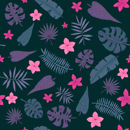 Seamless Pattern of Little Pink Flowers, Violet and Deep Green Palm Leaves on Dark Background