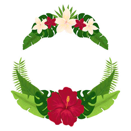 Exotic Wreath with Red Hibiscus, White Plumeria and Palm Leaves