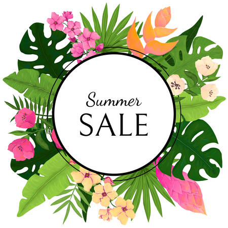 Summer Sale Card Design with Tropical Leaves and Flowers