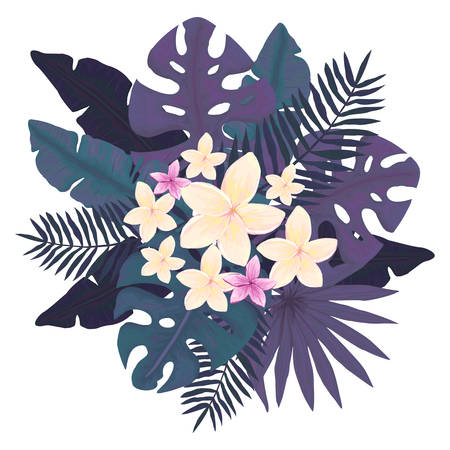 Dark Bouquet with Tropical Palm Leaves and Flowers Illustration
