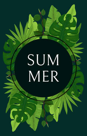 Summer Card Design with Bright Green Palm Leaves on Dark Background