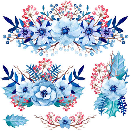 winter garden: Set of Watercolor Winter Bouquets with Blue Leaves, Flowers and Red Berries