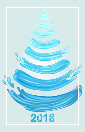 Light Blue Brush Stroke Christmas Tree and 2018 on Grey Background. Hand Painted New Year Concept