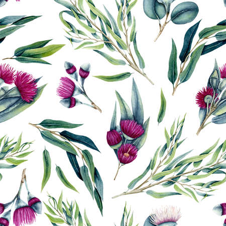 Seamless Pattern of Watercolor Eucalyptus Willow Leaves and Pink Flowers