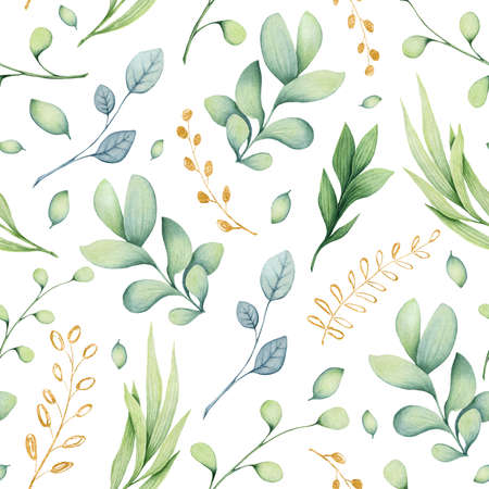 Herbal Seamless Pattern of Watercolor Golden and Light Green Leaves on White Background Imagens