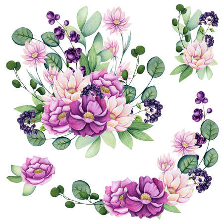 Set of Hand Drawn Watercolor Bouquets with Pink Wildflowers and Purple Berries Isolated on White Background