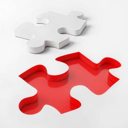3d puzzel op witte achtergrond, rode en witte puzzel, 3d Illustrated Stockfoto