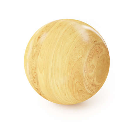 Wooden Sphere isolated on White Background