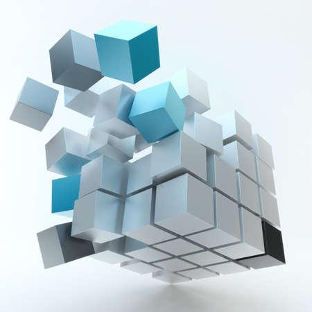 Explosie Cube geïsoleerd op witte achtergrond Stockfoto