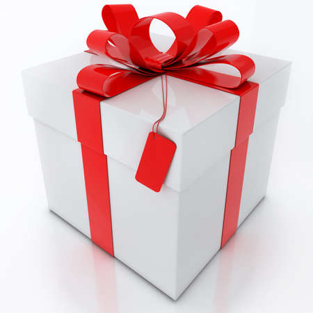 White Gift Box with Red Ribbon on White Background  Banque d'images