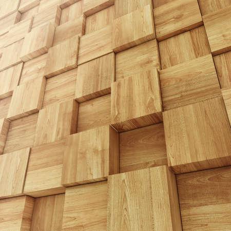 Abstracte houten muur gemaakt van Cube, achtergrond Stockfoto