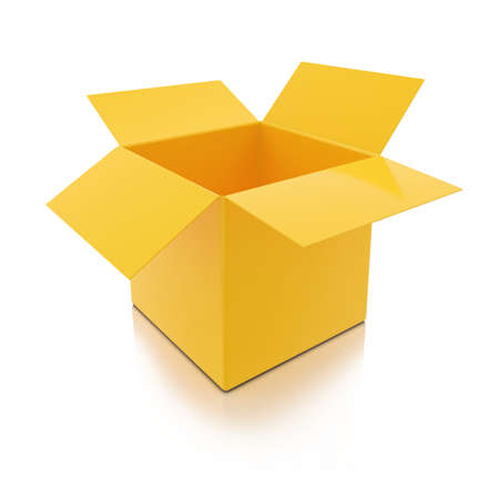 3D Geel Open Box op een witte achtergrond