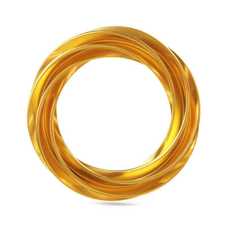 Abstract Shape, Golden Ring Isolated on White Background