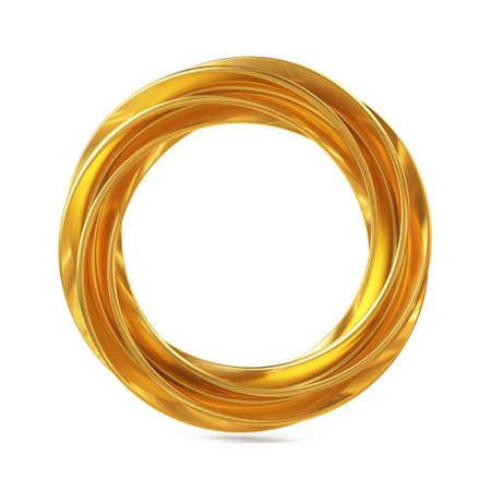 Abstracte Vorm, Golden Ring die op Witte Achtergrond