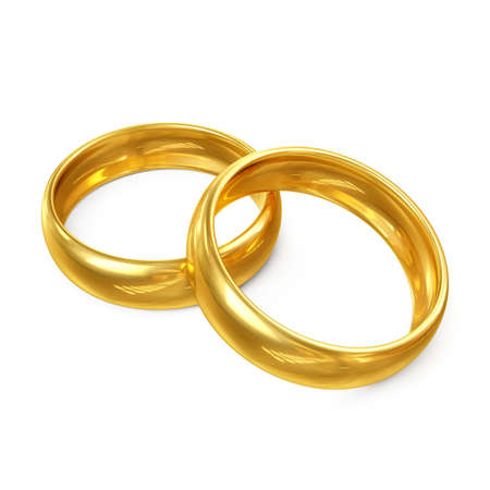3D Couple of Wedding Rings Isolated on White Background