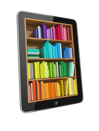 bookshelf digital: Tablet Computer Bookcase with Multicolor e-books isolated on White Background