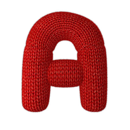 Letter A Made of Wool Knit Isolated on White Background Banque d'images