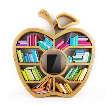 Apple of Knowledge, Wooden Shelf with Multicolor Books Isolated on White Background Tablet inside Shelf Banque d'images
