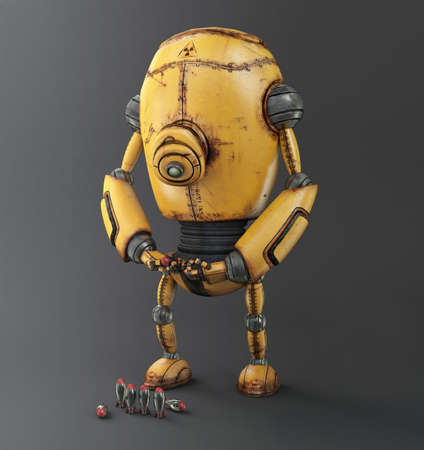 Geel Corrosie Robot, achtergrond 3d illustratie