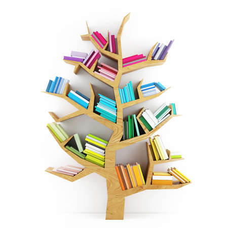 libro: Árbol del Conocimiento, Estante de madera con multicolores libros aislados sobre fondo blanco