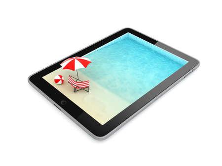 Tablet voor vakantie geïsoleerd op witte achtergrond, illustratie Stockfoto