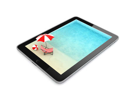 Tablet for Vacation Isolated on White Background, Illustration