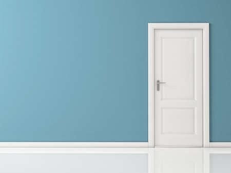 porte bois: Fermé porte blanc sur bleu mur, sol réfléchissant