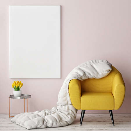 concept van de comfortabele inter met een mock-up poster, 3d illustratie