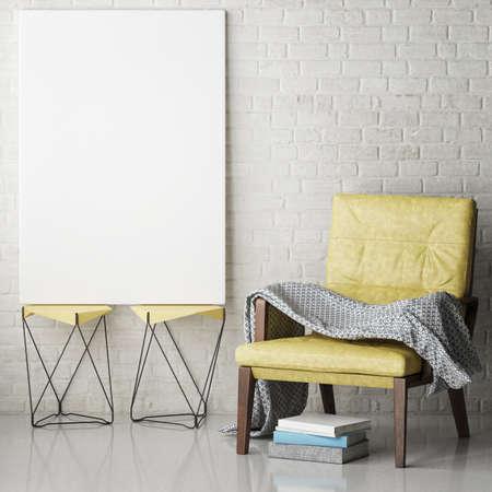 Mock up poster frames in hipster interior background, 3D illustration