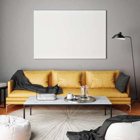 De spot op affiche, de binnenlandse samenstelling, de bank, de lamp en de witte 3d affiche, geven terug