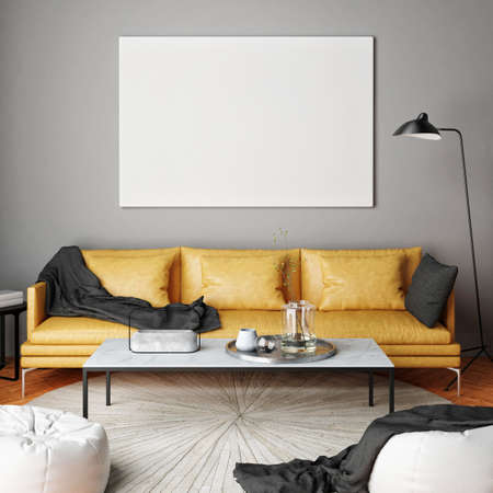 Mock up poster, interior composition, sofa, lamp and white poster, 3d render Imagens
