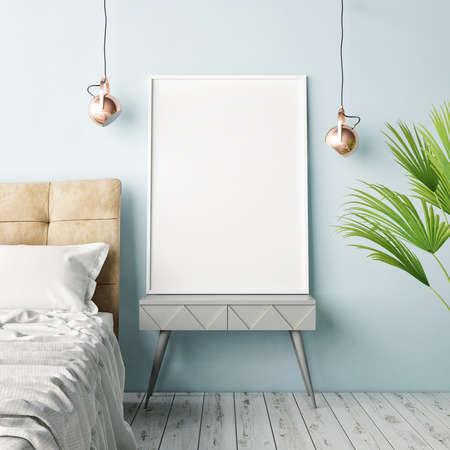 Mock up poster, hipster slaapkamer, 3d illustratie