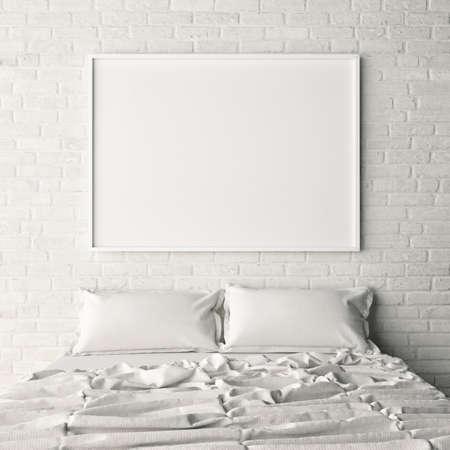 Cartel vacío en la pared blanca de ladrillo dormitorio, ilustración 3d Foto de archivo - 64731333